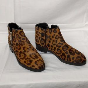 Zara Pony Hair Cheetah Print Boots Exposed Zipper